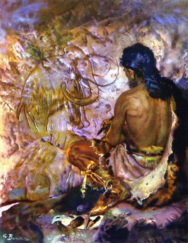 """යම් සතෙකු වර්ණ භාවිතාකොට ගිරි බිතක ඇඳිම මඟින් එම ශිල්පියාට එම සත්වයා සතු ජවය ආරෝපණය වේ විශ්වාසය නිසා මෙම සිතුවම් ඇඳ තබන්නට ඇති බව විශ්වාස කරයි""""_Burian, Zdenek, prehistoric_artist, 1961"""